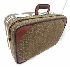 VINTAGE SKYWAY TWEED LEATHER TRIM CARRY-ON ROLLING WHEELED SUITCASE BAG LUGGAGE