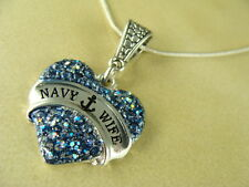 NAVY WIFE BLUE SPARKLING ENAMEL HEART PENDANT W/ Stainless Steel CHAIN NECKLACE