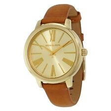 Michael Kors MK2521 Women's Hartman Gold Tone Brown Leather Band Watch