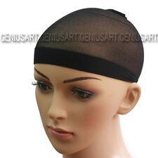 2x Cuffie Capelli Sotto Parrucca Wig Elasticità Nero Nylon Costume Donna