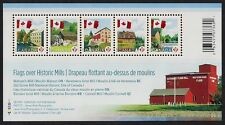 Canada Stamps -Souvenir sheet of 5P -Canadian Flag over Mills #2350 MNH