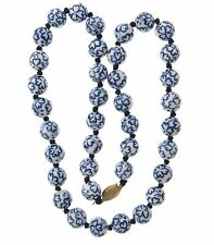 Four Leaf Clover Blue  and White Porcelain Bead Necklace Strand