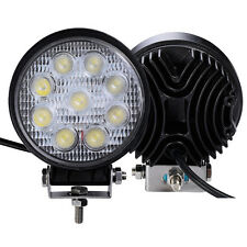 2 PCS 27W Round Flood Work Light Bar Fog Driving Lamp Truck Tractor SUV 9 LED