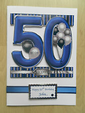 Hand-Made Male 50th Birthday Card -Can be Personalised