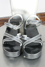 Prada platform sandals 38 8 90's leather black made in Italy