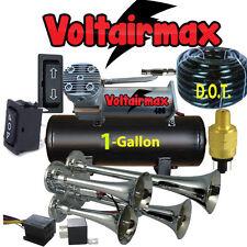 4 Trumpet Air Horn,Compressor Hose,1gal tank170 dB Train 200 PSI Kit