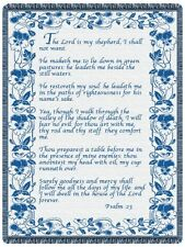 68x48  23RD PSALM Religious Blue Tapestry Afghan Throw Blanket