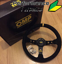 NEW UNIVERSAL BLACK OMP SUEDE 350MM DEEP DISH RACING SPORT STEERING WHEEL SPARCO