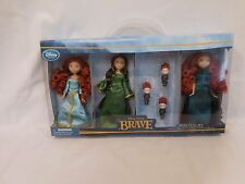 Disney Store Brave 6 Piece Mini Doll Set Merida Queen Elinor Triplets NIB