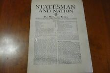 THE NEW STATESMAN AND NATION NEWSPAPER GREAT BRITAIN PRE WW2 WAR IN SPAIN KERRAN