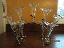 Antique/Vintage Silverplate Epergne with 9 Glass Vases