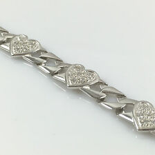 925 Sterling Silver Child Kids Bracelet Hearts Cubic Zirconia Stones 7.96gr 6""