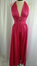 WOMEN'S Vintage S Hot Pink Nylon Knit Backless Jumpsuit/Loungwear With Tie Ends