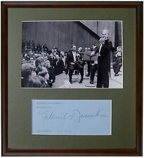 Violinist YEHUDI MENUHIN Signed AUTOGRAPH + ORIGINAL ART PHOTO + DECORATIVE MAT