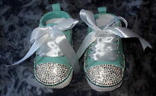 BAXTER'S BABY BLING BOOTEES ROMANY GREEN WITH CRYSTAL, GREEN BLING 6-12 Months