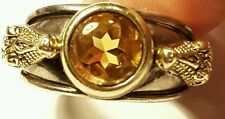 Barry Kieselstein Cord Unisex Sterling Silver Alligator Ring with Citrine