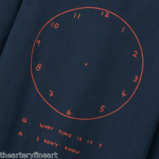 DAVID SHRIGLEY x UNIQLO 'What Time Is It?' T-Shirt L Long Sleeve Navy Blue *NWT*