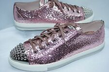 Miu Miu Women's Pink Shoes Fashion Sneakers Size 9.5 Tennis Glitter Lux 6 NIB