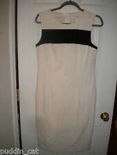 Calvin Klein ivory sleeveless dress lined black stripe accent on front NWT 10