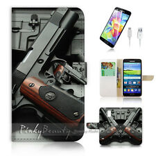 Samsung Galaxy S5 Flip Wallet Case Cover! P1755 Gun