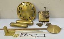 Antique 1930 JUNGHANS Grandfather Clock Set MOVEMENT DIAL PENDULUM WEIGHTS GONG