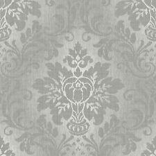 Tissu Argent Papier Peint Damas Pailleté Effet Vinyl Texturé A10904