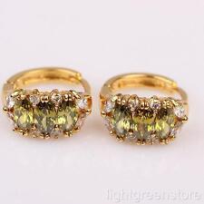 Or jaune 18 carats rempli Boucles d'oreilles en cristal vert olive GF Bijoux