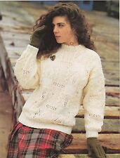 "LADIES~SAMPLER SWEATER~CABLE~LEAF DESIGN~ARAN~KNITTING PATTERN~SIZE 30-40""(T158)"