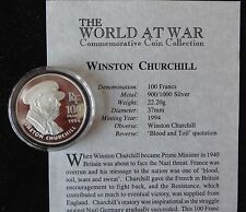 1994 SILVER PROOF FRANCE 100 FRANCS COIN + COA WORLD AT WAR WINSTON CHURCHILL