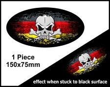 SKULL Oval FADE TO BLACK German Germany Country Flag vinyl car sticker 150mm
