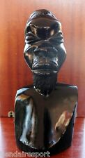 VINTAGE AFRICAN HEAD HAND CARVED EBONY WOODEN MAN TRIBAL FOLK ART WOODCARVING
