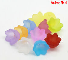 300 MIXED COLOURED FROSTED ACRYLIC FLOWER BEAD END CAPS 10mmx7mm  bracelet (27G)
