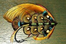 "3.25"" Fully Dressed Peacock Salmon fly art Sticker / decal. Fly tying, fishing"
