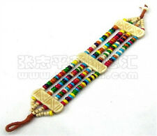 Tibetan Carved Auspicious Symbol Strip 4 Yak Bone Strands Beaded Amulet Bracelet