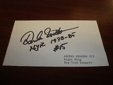 Anders Hedberg NHL New York Rangers WHA Winnipeg Jets Signed 3X5 Index Card -AN