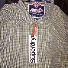 Superdry Shirt Size XL Green And White Check Brand New