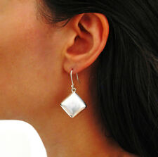 Square 925 Sterling Silver Three Dimensional Puffy Design Earrings