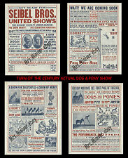 SEIBEL BROS Circus DOG & PONY SHOW Courier OVER 100 years old! GIANT SIZE 14x21!