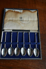 Mappin and Webb solid silver 6  Golf handle teaspoons hallmarked in original box
