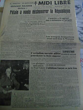 Midi Libre 26 juil 1945 obsèques paul Valéry occupation vienne aviation vs japon