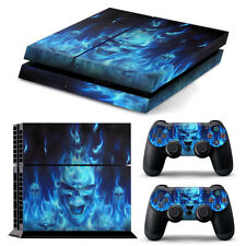 Blue Skull console Skin Wrap +2 Controller Sticker Decal For Sony PS4 Full Body