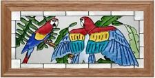 22x11 SCARLET MACAWS Parrot Tropical Stained Art Glass Framed Suncatcher