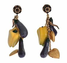 NWT DOLCE & GABBANA Earrings Gold Brass Aubergine Paprika Crystal Dangle Clip On