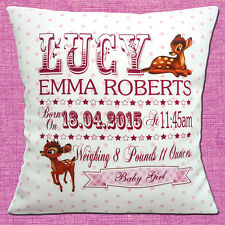 "PERSONALISED BIRTH BAMBI Name Date Time Weight PINK 16"" Pillow Cushion Cover"