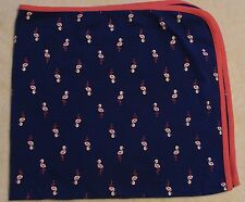 Carters Just One You Blue Flamingos Baby Blanket Pink Trim Receiving Swaddle