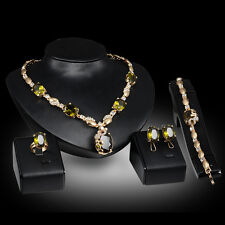 green zircon party Gold Plated Necklace Earring Bracelet Ring Jewelry Set