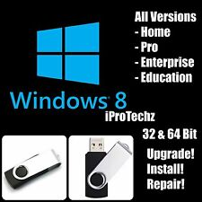 Windows 8 32 & 64bit USB Flash Drive Pro Home Enterprise Upgrade Repair Install