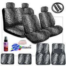 NEW PREMIUM GRADE SNOW LEOPARD CAR SEAT STEERING WHEEL COVER MATS FOR HONDA