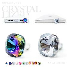 2pc Ultra Bling Swarovski Element Crystal 3.5mm Anti Dust Plug DkPurpleAB+Silver