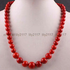 Beautiful 6-14MM Red Coral Round Beads Necklace Gemstone Strand 20""